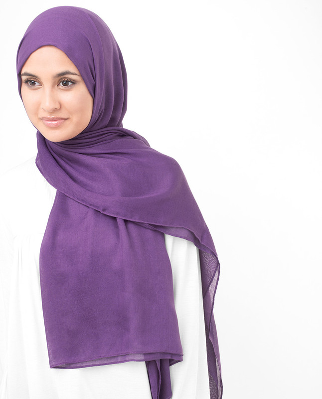 Bright Violet Viscose Woven Scarf