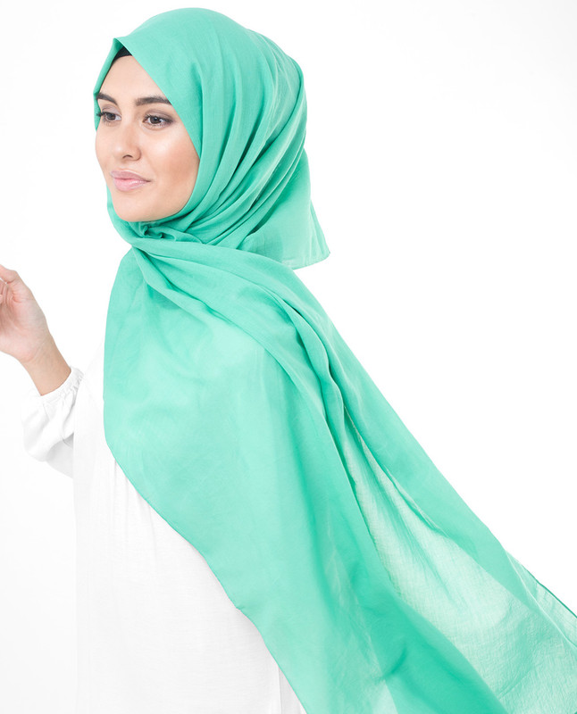 Vivid Green Cotton Voile Scarf