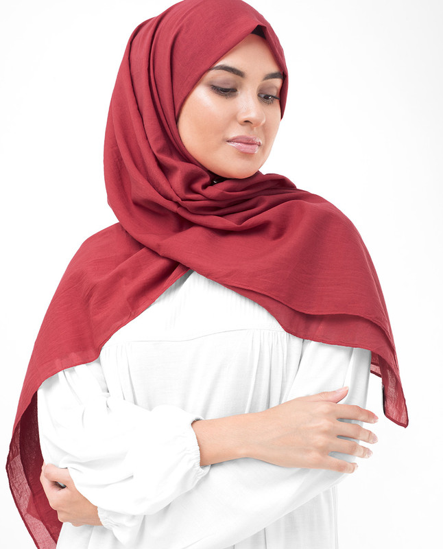Lollipop Red Cotton Voile Scarf