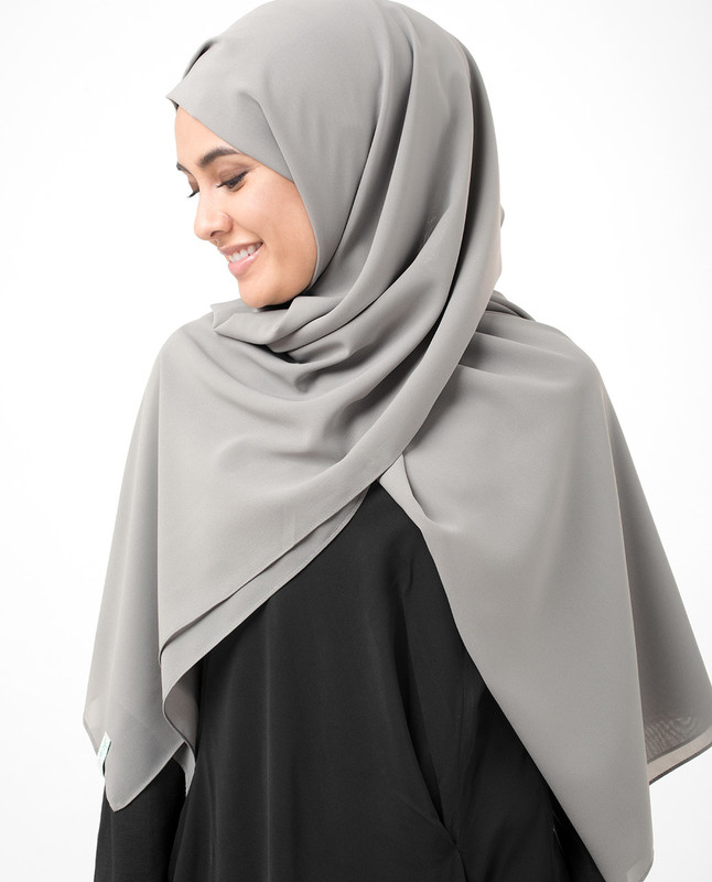 Ash Grey Poly Georgette Scarf