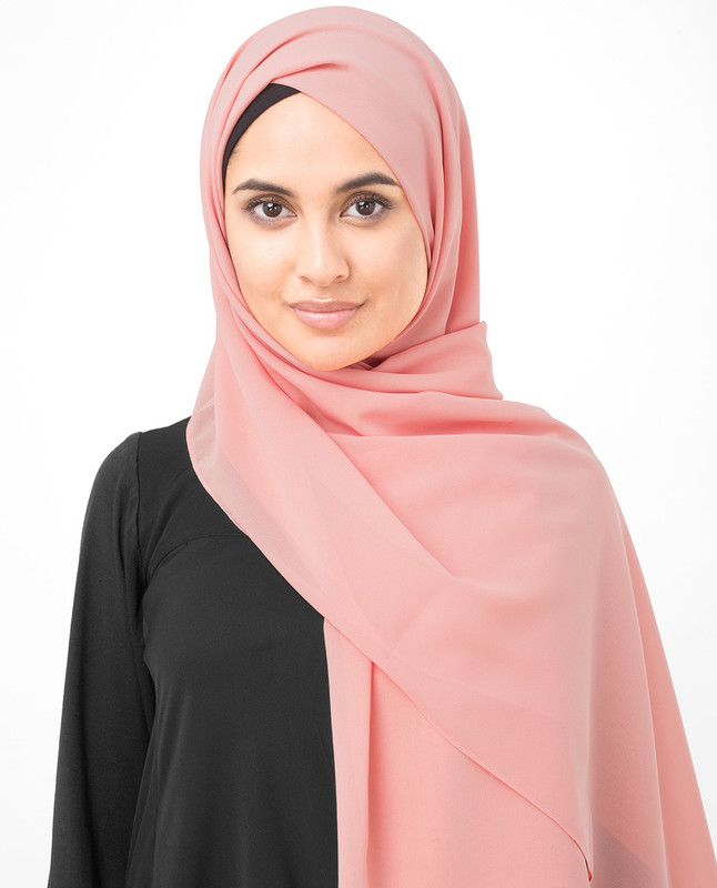 Coral Pink Poly Georgette Scarf