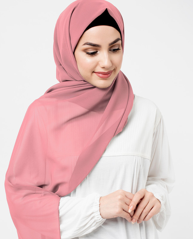 Strawberry Ice Pink Poly Georgette Scarf