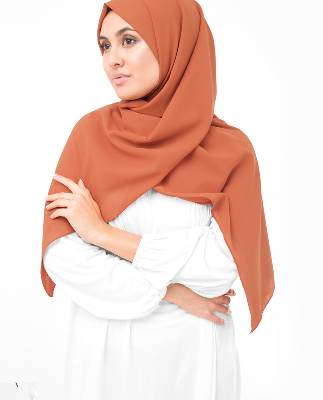 Apricot Orange Poly Georgette Scarf