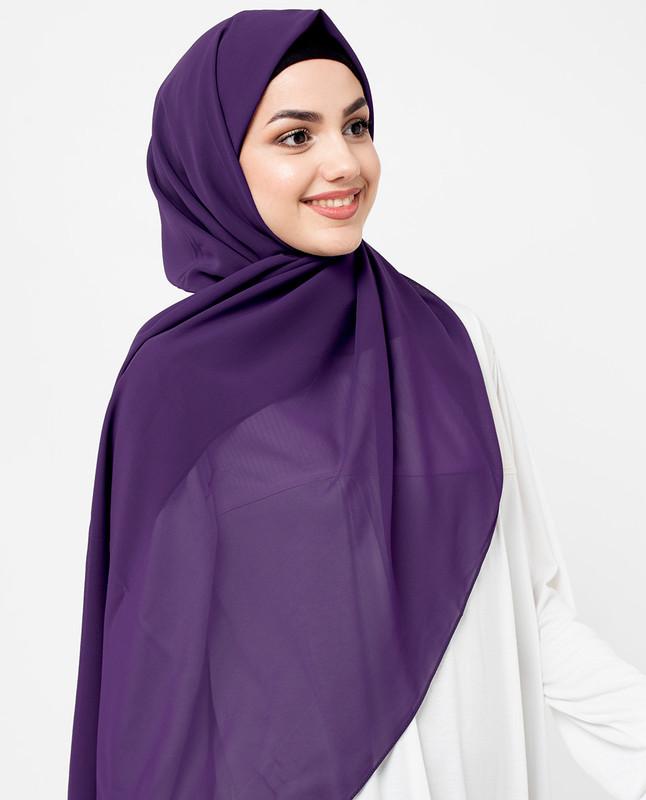 Sparkling Grape Purple Poly Georgette Scarf