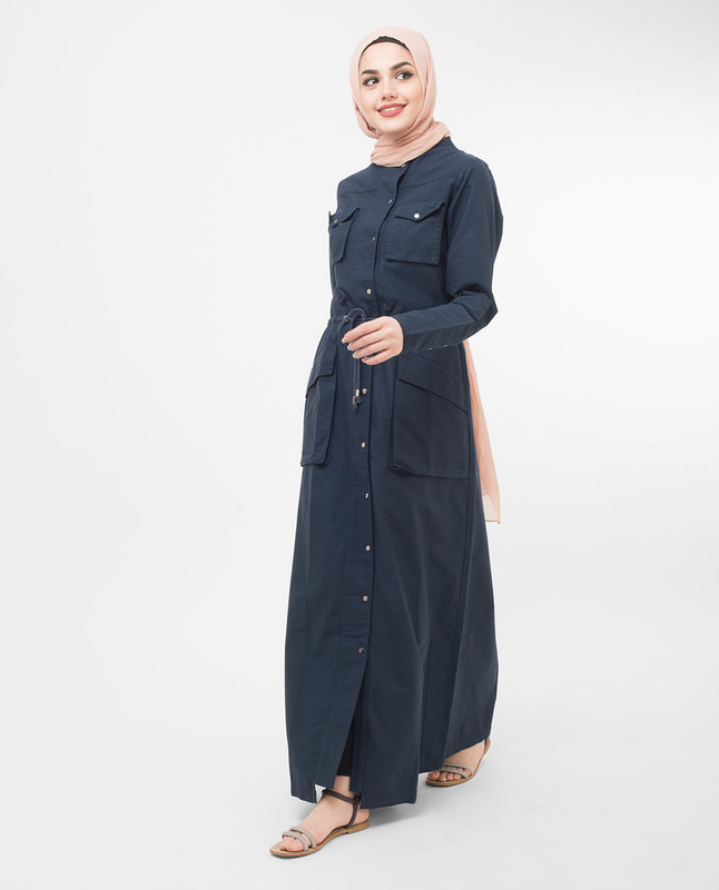 Buttoned Navy Jilbab Abaya