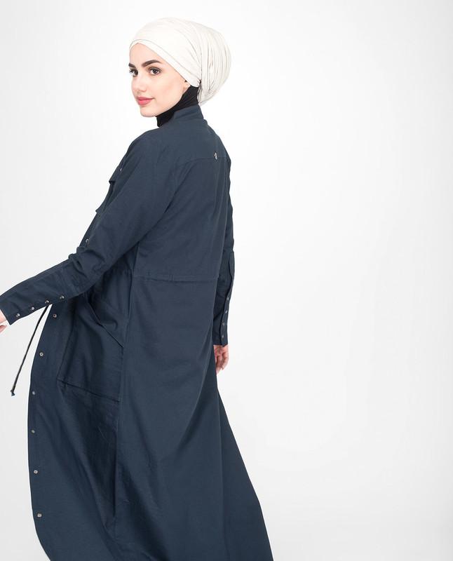 Blue Cotton Abaya Jilbab