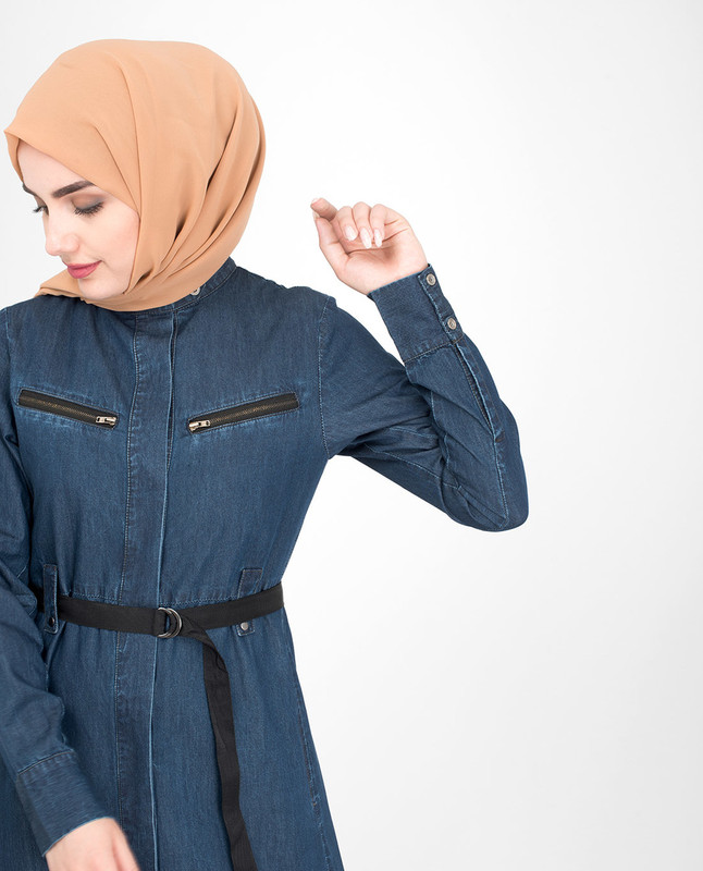 Front open denim jilbab abaya