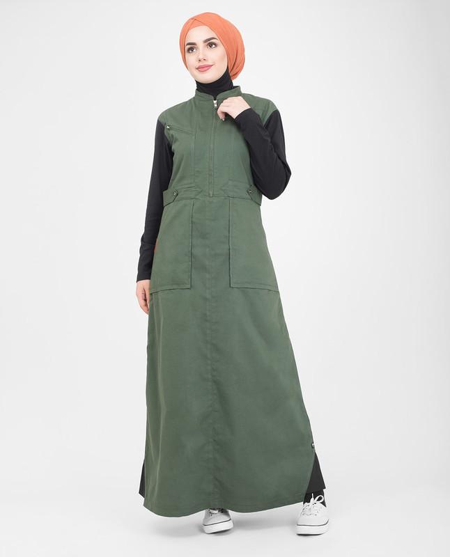 Black and green jilbab abaya