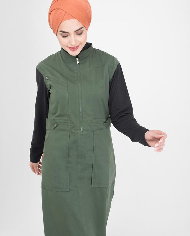 Cotton green jilbab abaya