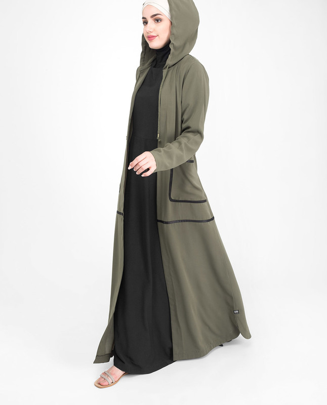 Olive green front open outerwear abaya jilbab