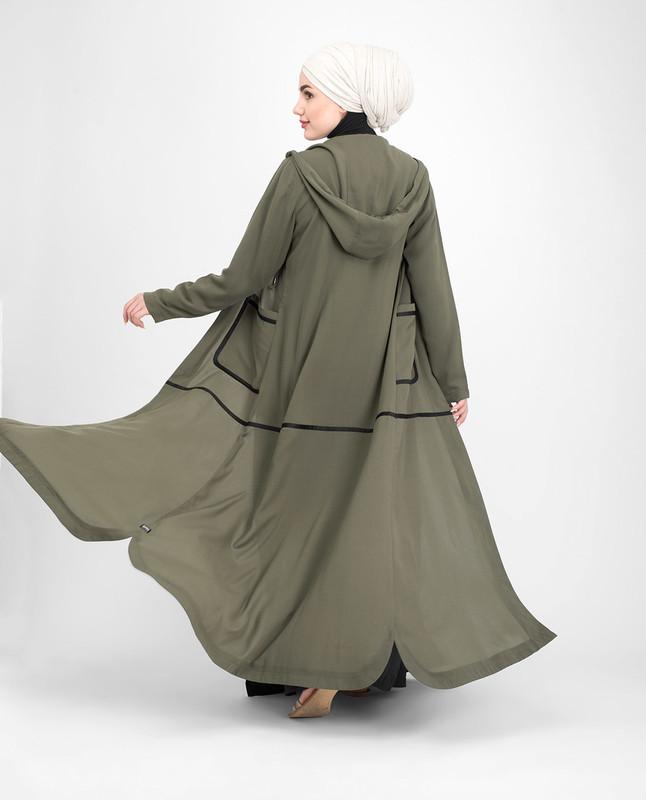 Lightweight hood olive green outerwear abaya jilbab