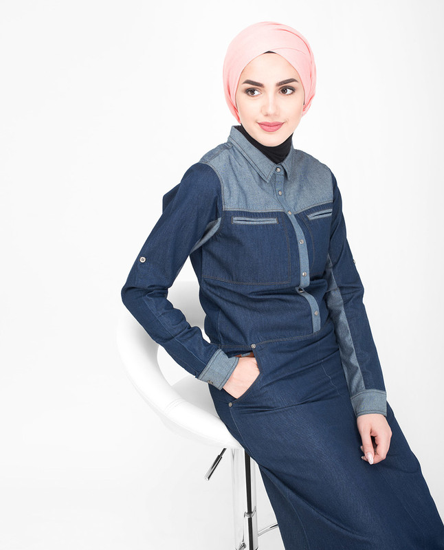 Blue denim cotton jilbab abaya