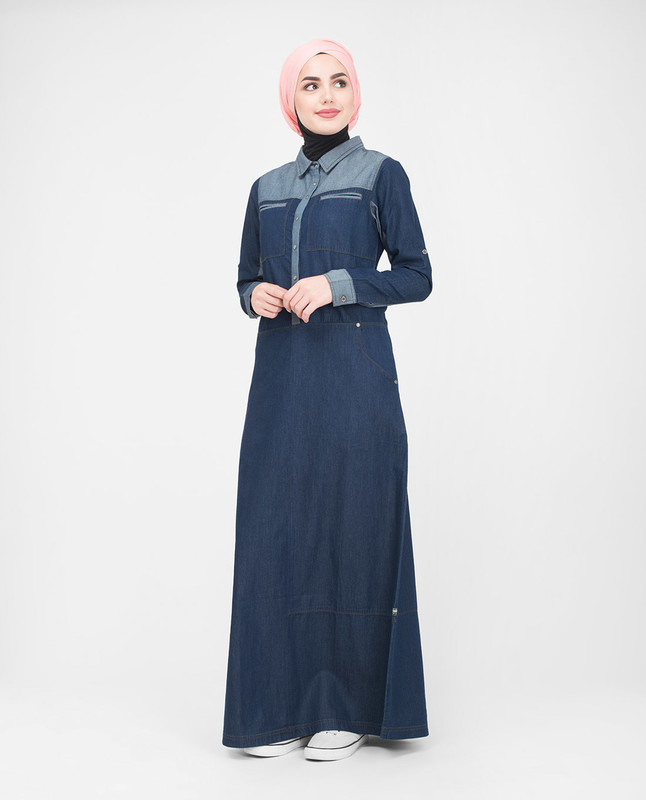 Blue collar denim jilbab abaya