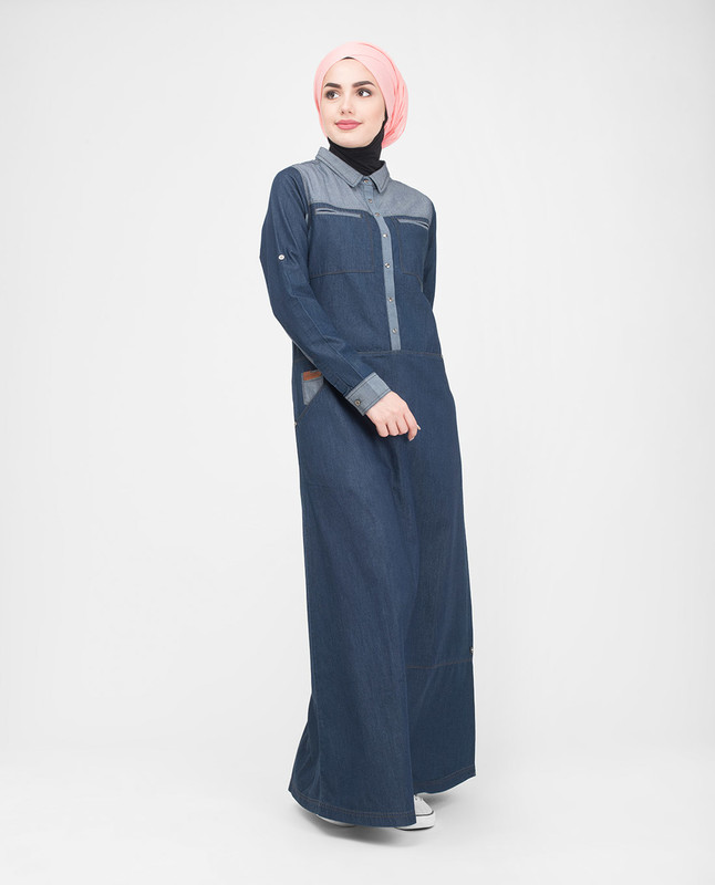 Casual blue denim abaya jilbab
