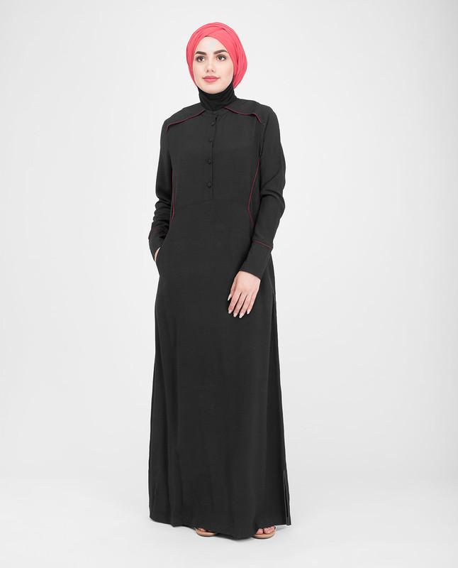 Black buttoned abaya jilbab
