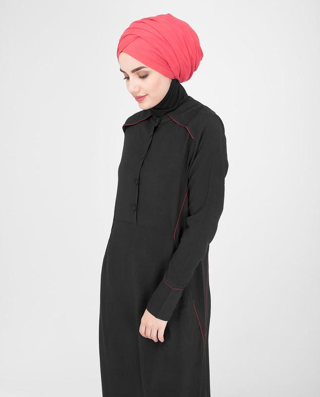 Buttoned opening abaya jilbab