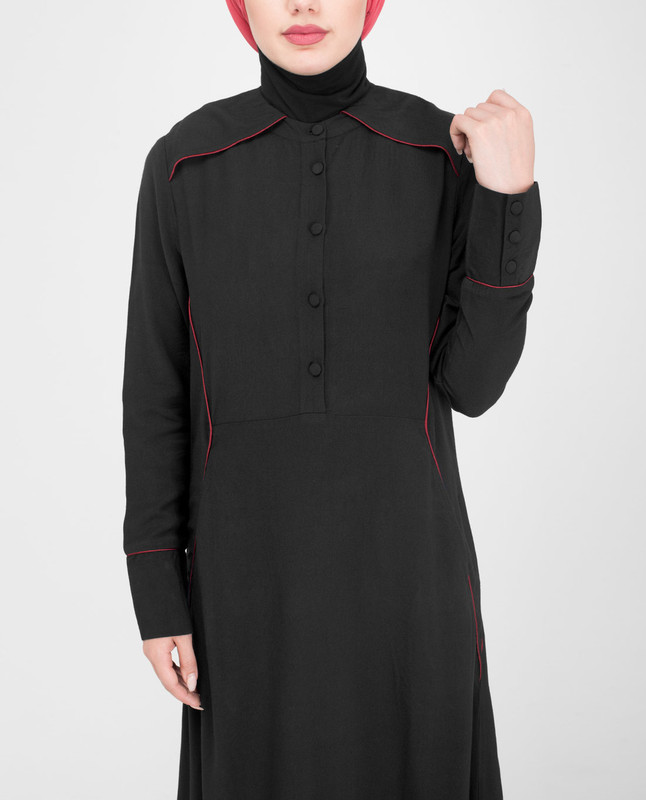 Round collar black abaya jilbab