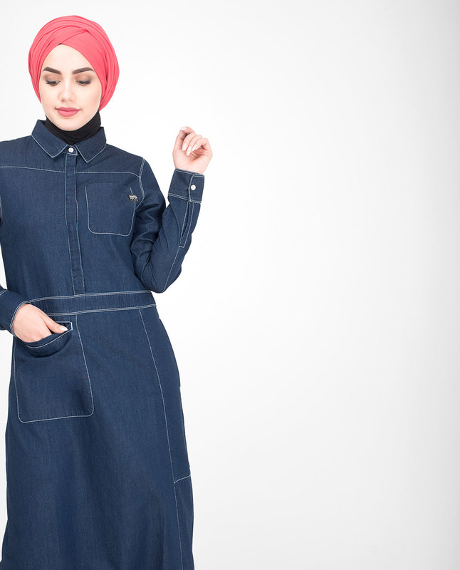 Collar blue denim abaya