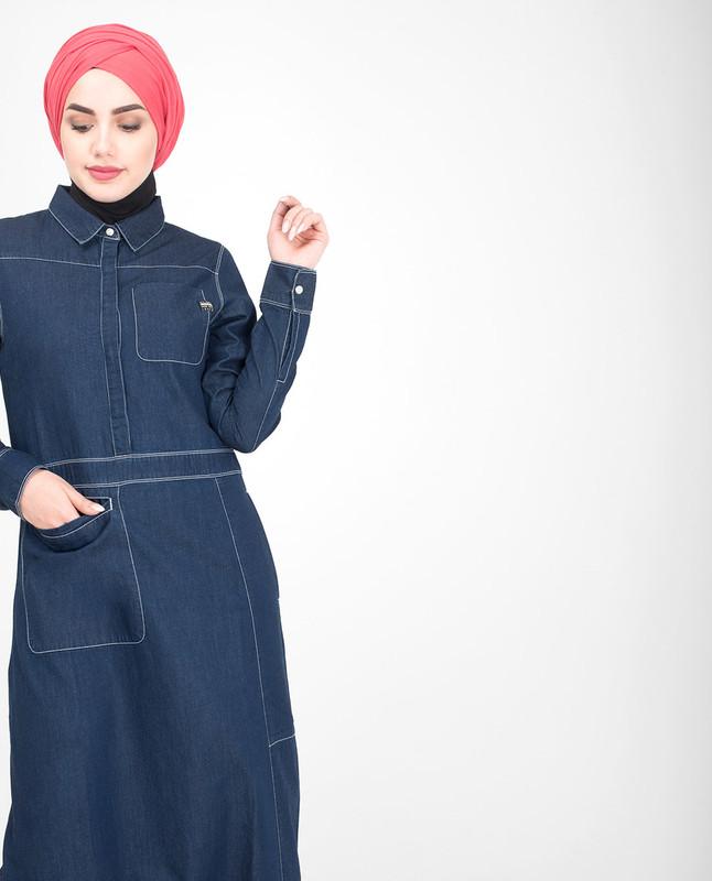 Collar blue denim abaya