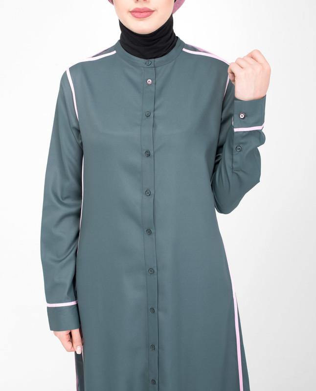 Side pocket grey abaya jilbab