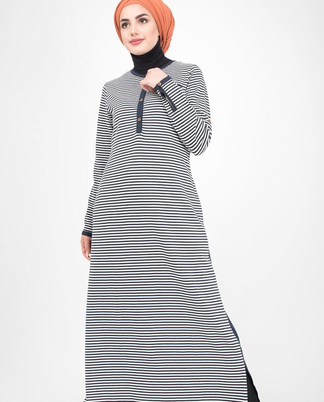 Blue jersey abaya jilbab