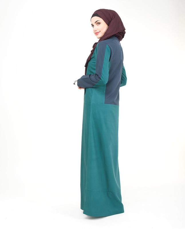Round collar green jilbab abaya