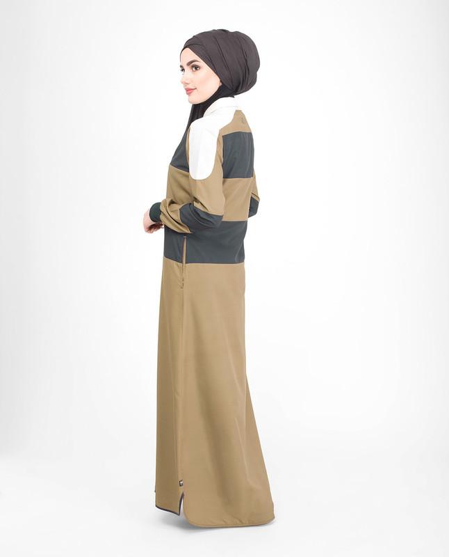Brown side pockets abaya jilbab