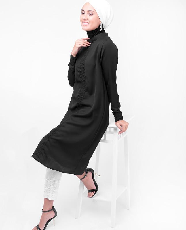 Black Lace Modest Top