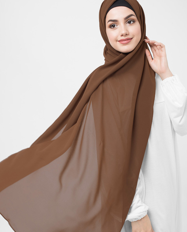 Dark brown Poly georgette hijab scarf