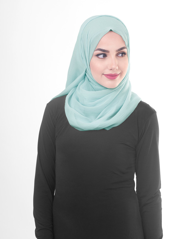 Light Blue poly chiffon hijab scarf
