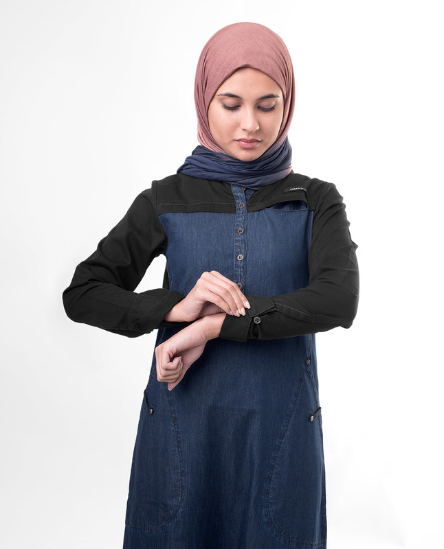 Button denim jilbab abaya