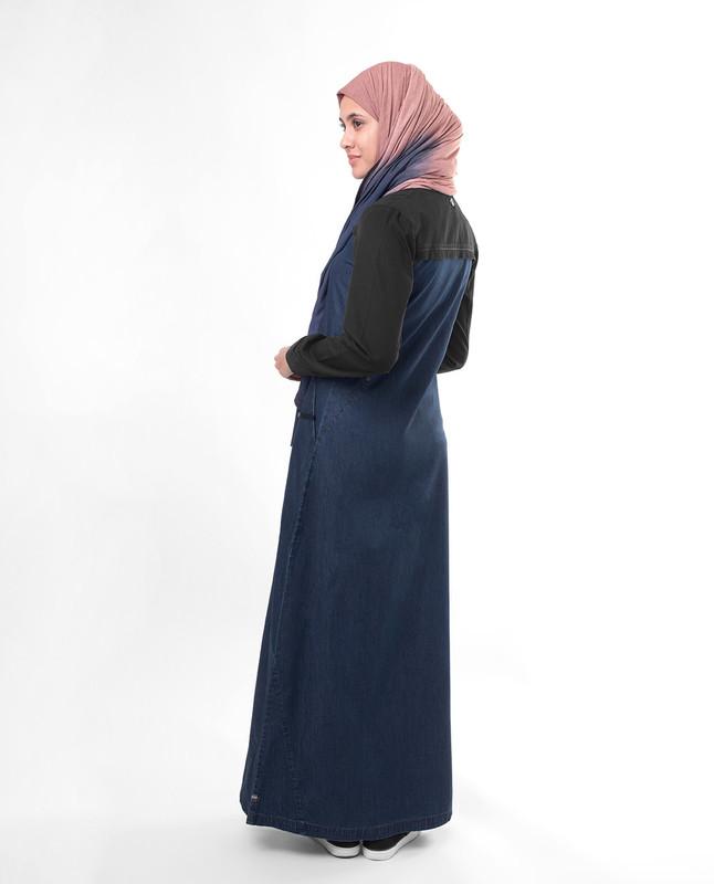 Dark blue fashionable abaya jilbab
