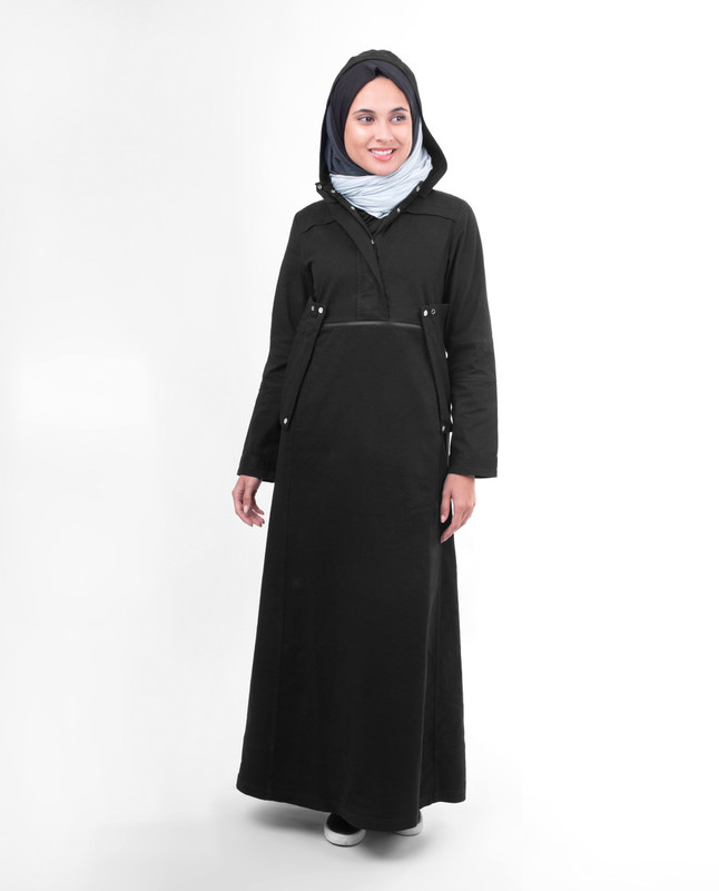 Black hooded winter abaya jilbab