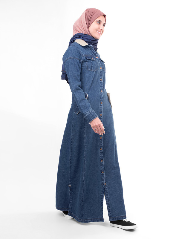 Full button blue abaya jilbab