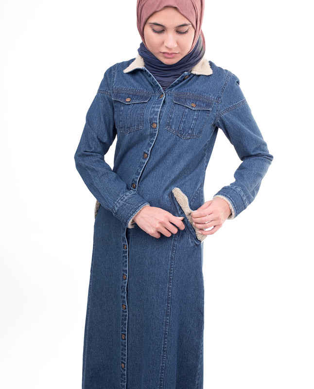 Winter denim abaya jilbab