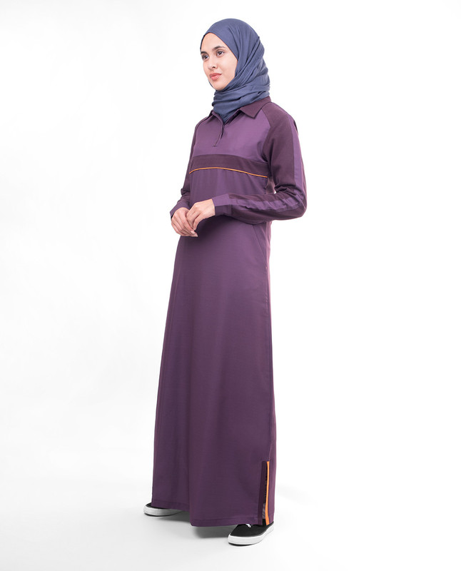 Purple collar abaya jilbab