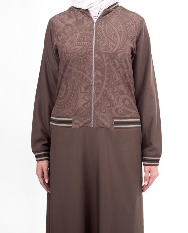 Half print brown abaya jilbab
