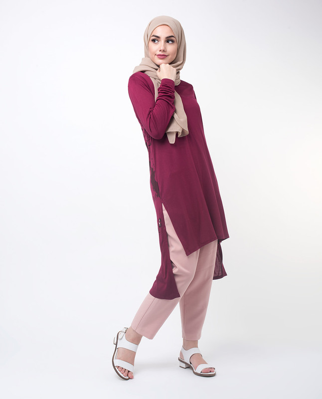 Maroon Floral Modest Top Tunic