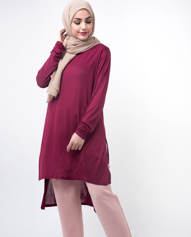 Dark Red Fashionable Top Tunic