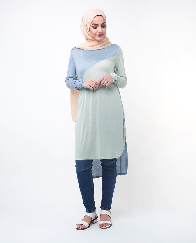 Blue Top Tunic Long Sleeve