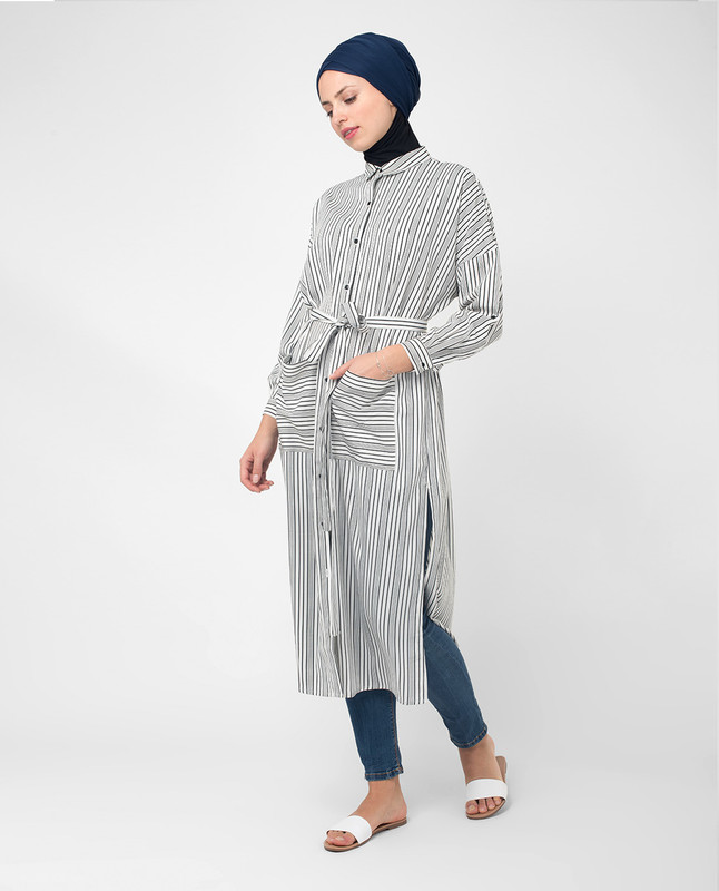 660e7408f64 Black   White Striped Modest Shirt Dress modest dresses with sleeves shirt  dresses online ...