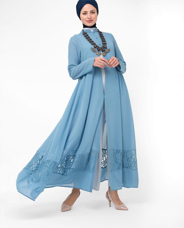 Full Length Blue Elegant Lace Outerwear, kimono