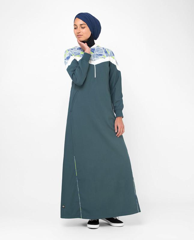 Buy teal and white abaya jilbab