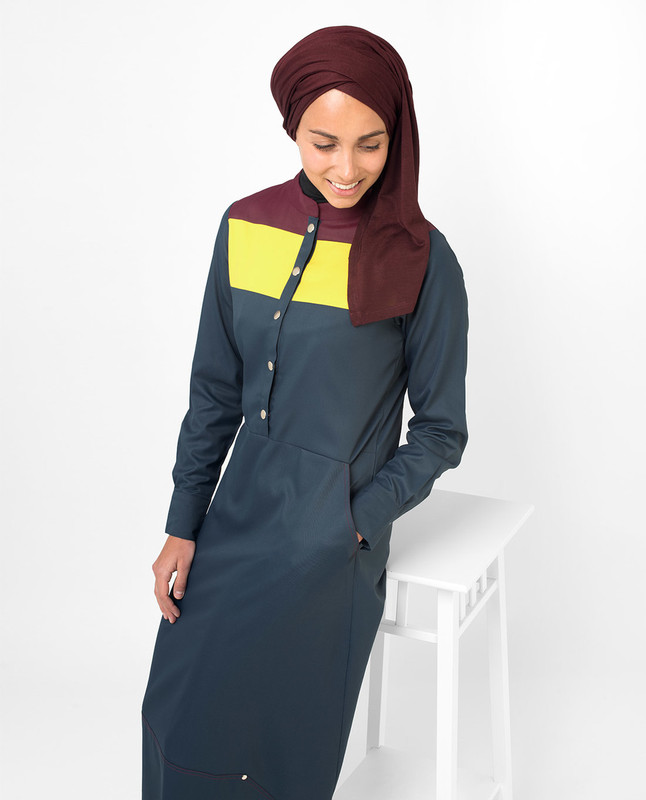 Navy and yellow abaya jilbab