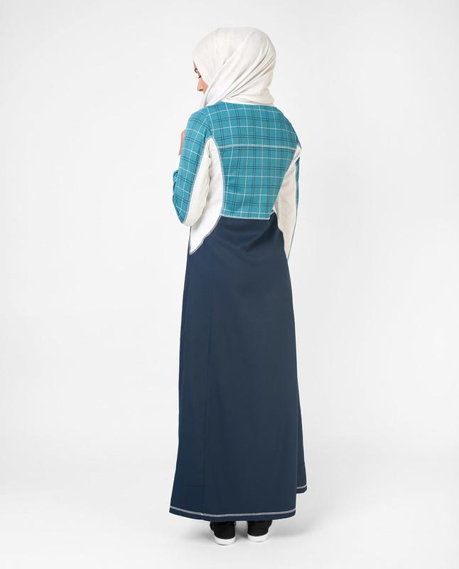 sporty blue printed abaya jilbab