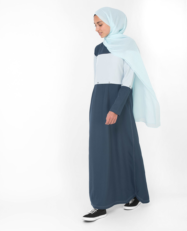 Detachable Blue Colour Blocking Jilbab