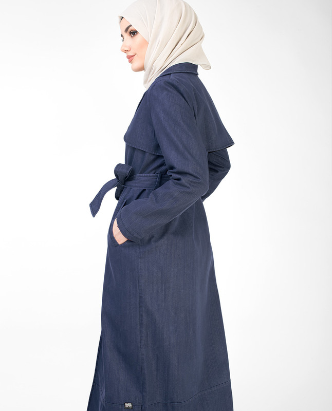 Denim Full Length Trench Coat