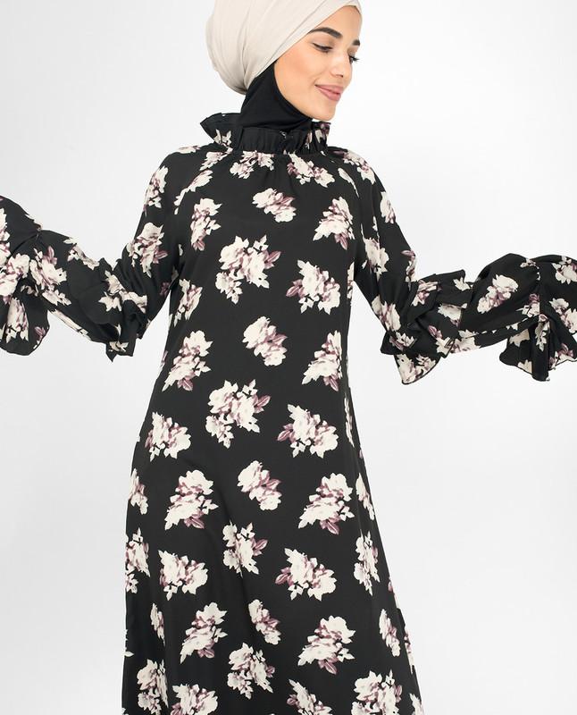 Black Floral Summer Midi Dress