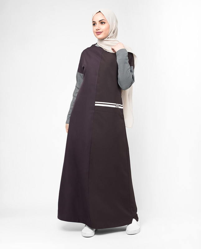 Purple and grey abaya jilbab