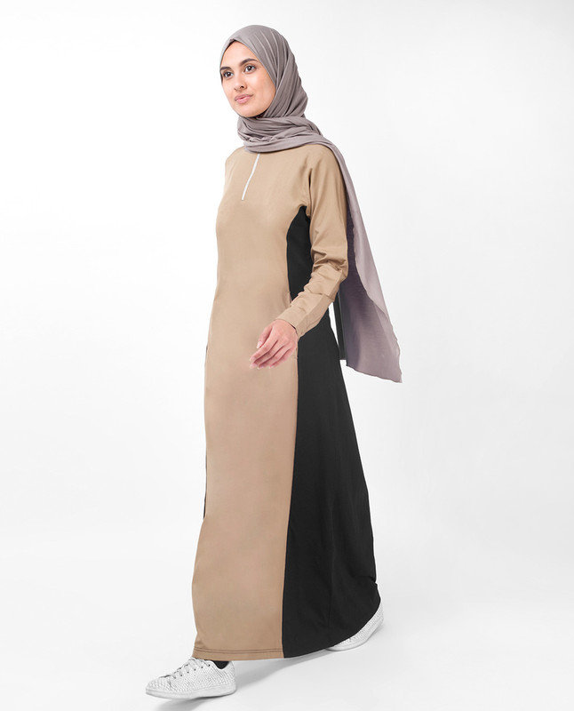 Brown and black abaya jilbab